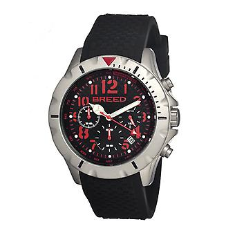 Breed Sergeant Chronograph Men's Watch w/ Date-Black/Red