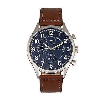 Elevon Lindbergh Leather-Band Watch w/Day/Date -Brown/Navy