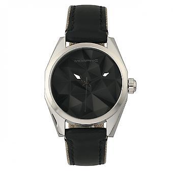 MORPHIC M59 serie leder-overlay Canvas-Band Watch - zilver/zwart