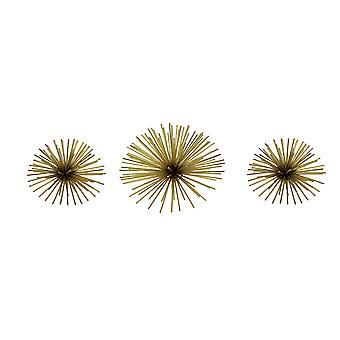 Metallic Gold Metal 3D Bursting Star Wall Hanging Set of 3