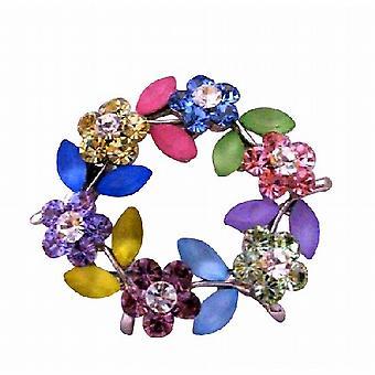 Лакомство раунд Multi кристаллы цветок брошь