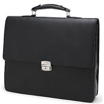 Tassia Vegan Leather Slimline Briefcase - Document Holder Business Bag  - Black