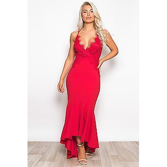 Lace Top Frill Hem Maxi Dress