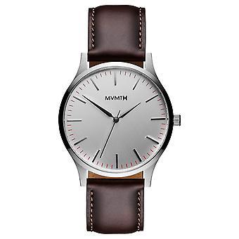 MVMT 40 serie zilver bruin heren horloge polshorloge leder MT01-SBR