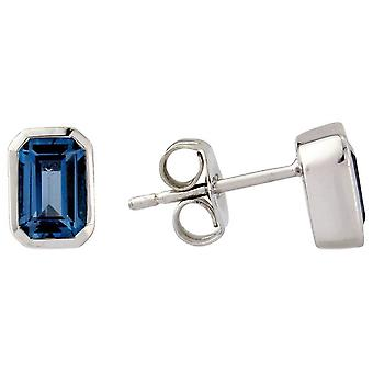 Mark Milton Small Octagonal London Topaz Earrings - Dark Blue/Silver