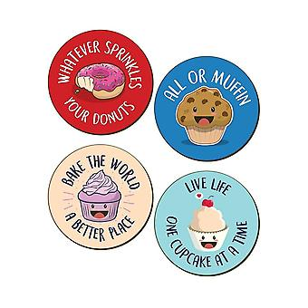Grindstore Bake The World A Better Place 4 Piece Coaster Set