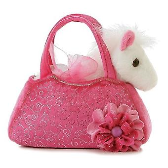 Aurora World Fancy Pals Plush Pink Pet Carrier Purse with White Pony