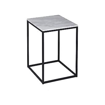 Gillmore White Marble And Black Metal Contemporary Square Side Table