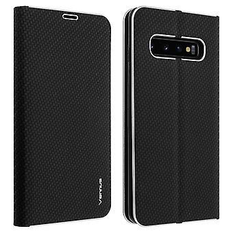 Caso flip Wallet, capa de fibra de carbono para Samsung Galaxy S10 Plus-preto