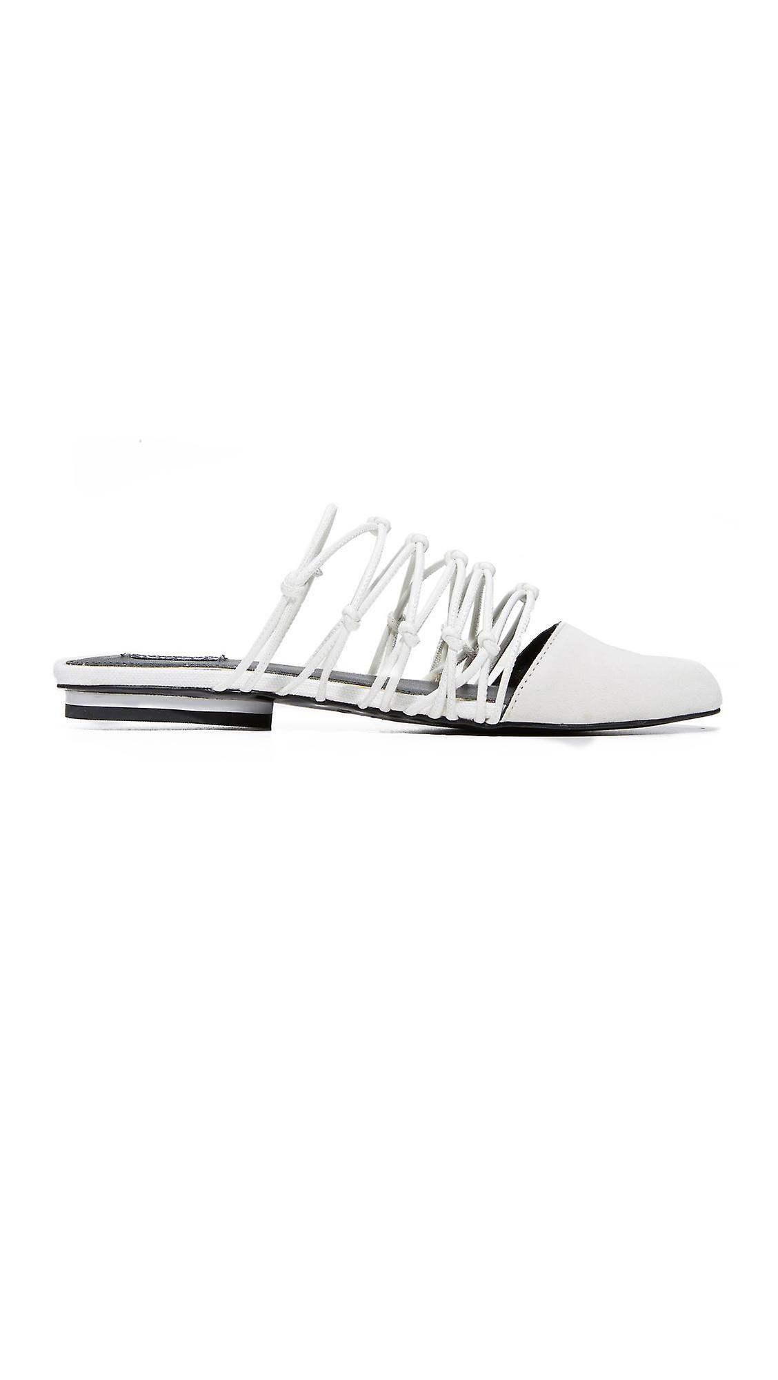 JAGGAR Womens Series flat Leather Almond Toe Casual Slide Sandals