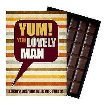 男性の友人のためのありがとう贈り物豪華な箱入りチョコレートグリーティングカードは、マンYUM101プレゼント
