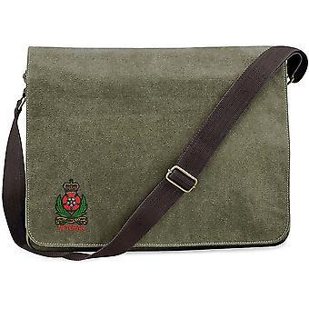 Efterretnings korps veteran-licenseret British Army broderet vintage Canvas Despatch Messenger taske