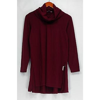 Lisa Rinna coleção Petite camisola S capuz pescoço longo SLV Hi Low hem Red A297911