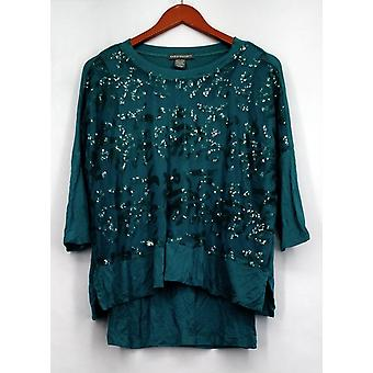 Kate et Mallory Top 3/4 Dolman Sleeve Top w/ Embellished Green A423064