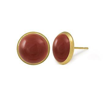 Eternal Collection Symphony Carnelian Gold Pierced Stud Earrings
