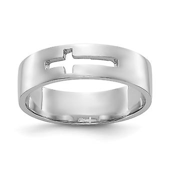 14k oro bianco lucido Cut-out Cross Mens Ring