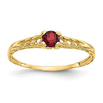 14k Yellow Gold Polished 3mm Garnet for boys or girls Ring Size 3