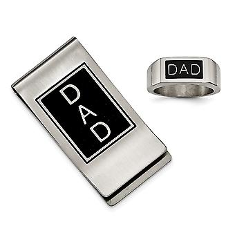 Stainless Steel Satin Polished Black Enamel Dad Money Clip and Ring Set  Jewelry Gifts for Men - Ring Size: 9 to 11