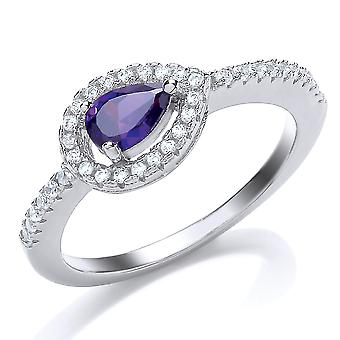 Jewelco London Rhodium Plated Silver Blue and White Pear and Round Brilliant Cubic Zirconia Solitaire Engagement Ring