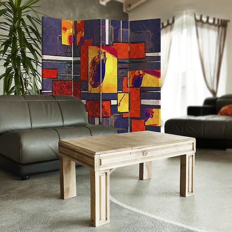 Diviseur de chambre, 4 panneaux, toile, géométrique abstrait 1