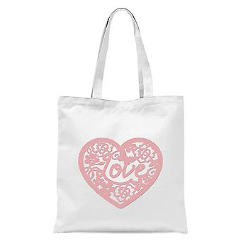 Pink Cut Out Love Heart Tote Bag - Blanc