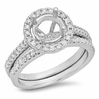 Dazzlingrock Collection 0.50 Carat (ctw) 14K Diamond Halo Semi Mount Engagement Ring with Band Set 1/2 CT, White Gold