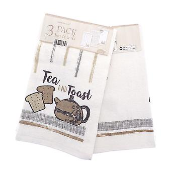 Country Club 3 Pack Tea Towels, Tea and Coffee