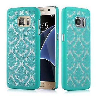 Samsung Galaxy S7 Hardcase Case in GREEN door Cadorabo - Floral Paisley Henna Design Protective Case - Phone Case Bumper Back Case Cover