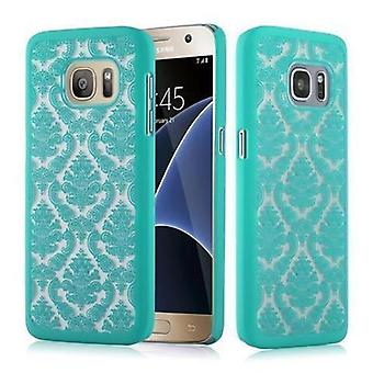 Samsung Galaxy S7 Hardcase Hülle in GRÜN von Cadorabo - Blumen Paisley Henna Design Schutzhülle – Handyhülle Bumper Back Case Cover