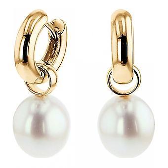Luna-perler-øreringe-Hoop Øreringe-gult guld 585 9-9,5 mm