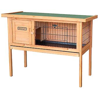 Charles Bentley Wooden Rabbit Hutch Guinea Pig Cage Run with Cleaning Tray Rubber Coated Mesh in Grey / White / Brown