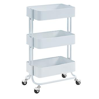 3 Tier Metal Cart with Tubular Frame and Spacious Storage, White