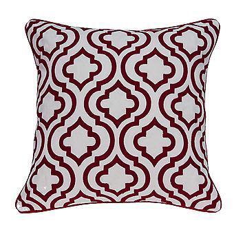 """20"""" x 0.5"""" x 20"""" Cubierta de almohada de algodón rojo y blanco de transición"""