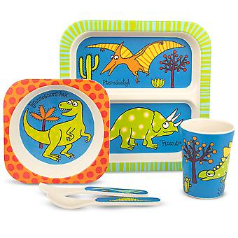 Tyrrell Katz Dinosaur Design 5pc Bamboo Dinner Set For Children