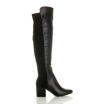 Ajvani womens low mid block heel knee high stretchy zip riding boots
