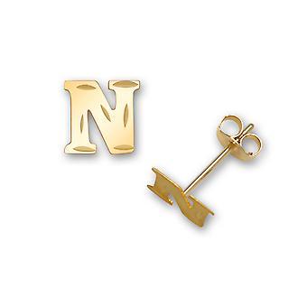 14k sárga arany levél neve személyre szabott monogram kezdeti N bélyegzés a fiúk vagy lányok fülbevaló intézkedések 6x7mm