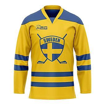 Camisa home do hóquei de gelo de Sweden