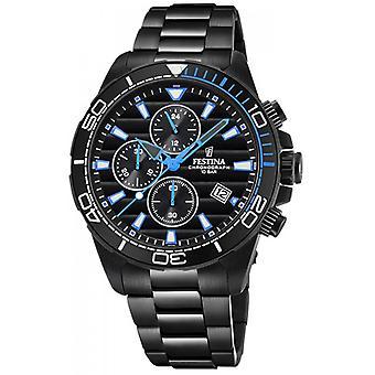 Festina F20365 2 Watch - Uhr FESTINA CHRONOGRAPH schwarz Zifferblatt schwarz Mann und Nadeln und blauen Mann-INDEX