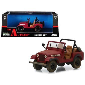 1981 Jeep CJ-7 Animal Preserve Red The A-Team (1983-1987) TV Series 1/43 Diecast Model Car par Greenlight