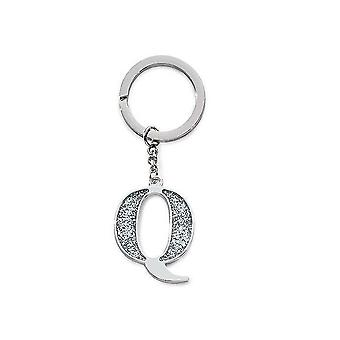 Silver Options Silver Plated Letter Q Glitter Keyring
