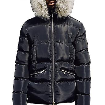4BIDEN Majestic Fur Hooded Black Puffer Jacket