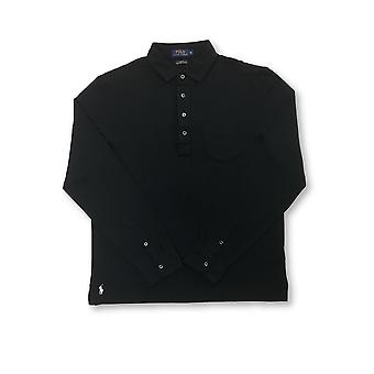 Ralph Lauren Polo slim fit pima cotton polo in black with chest pocket