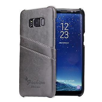For Samsung Galaxy S8 Case,Stylish Deluxe Durable Protective Leather Cover,Grey