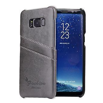 Para Samsung Galaxy S8 Case, elegante capa de couro de proteção durável de luxo, cinza