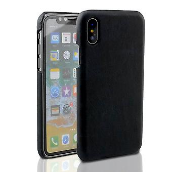 Für iPhone XS, X Fall, elegante hochwertige echte Schutzleder-Abdeckung, schwarz