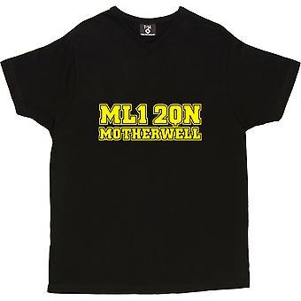 Motherwell Postcode V-Neck Black Men's T-Shirt