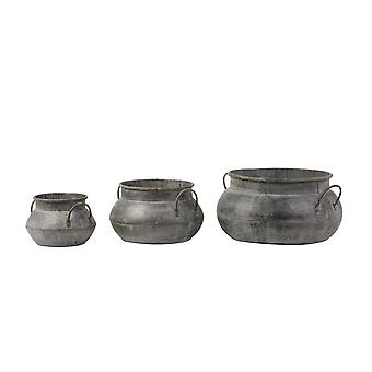 Light & Living Flower Pot Set Of 3 Max 42x27.5cm Dahlia Antique Zinc