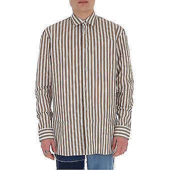 Maison Margiela S30dl0472s52607001f Men's Wit/bruin Katoenen Shirt