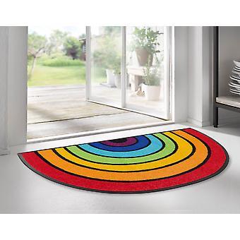 lavado + coche seco Round Rainbow 50 x 85 cm alfombra de suciedad semicircular