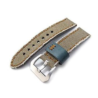 Strapcode fabric watch strap 20mm, 21mm, 22mm miltat zizz collection khaki washed canvas watch strap, brown wax hand stitching